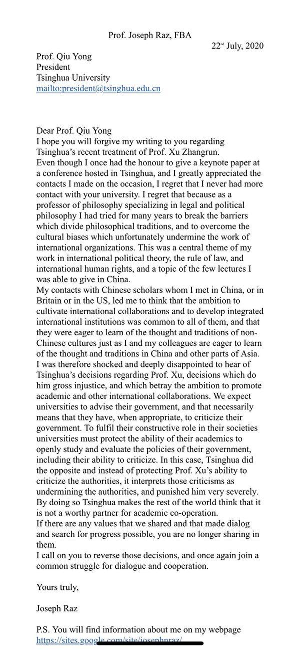 著名法學家約瑟夫.拉茲(Joseph Raz)致清華大學校長邱勇的信。(推特圖片)