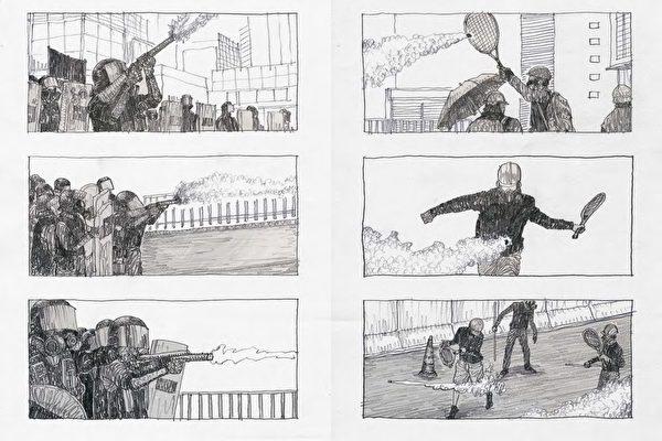 香港漫畫家柳廣成的畫筆,不斷畫出各種抗爭現場。(蓋亞文化提供)