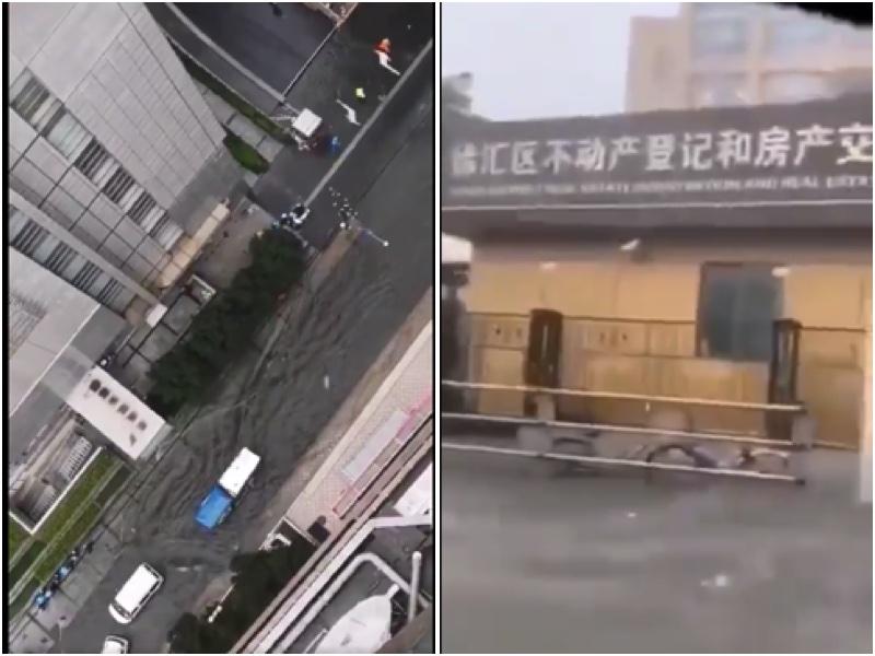 上海降暴雨 市民:如消防車水龍頭般噴射