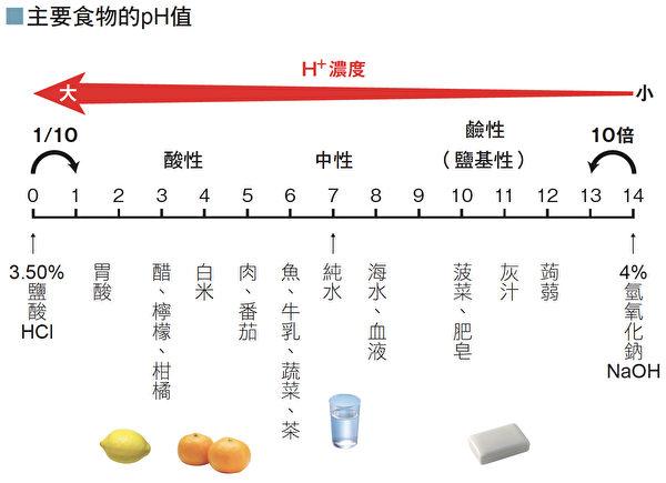 常見食物的酸鹼值(PH值)。(世茂提供)