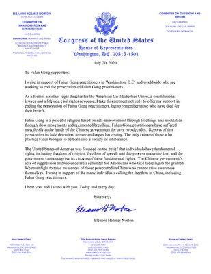 華盛頓DC國會眾議員埃莉諾‧霍姆斯‧諾頓(Eleanor Holmes Norton)寫給法輪功學員的聲援信。(大紀元)