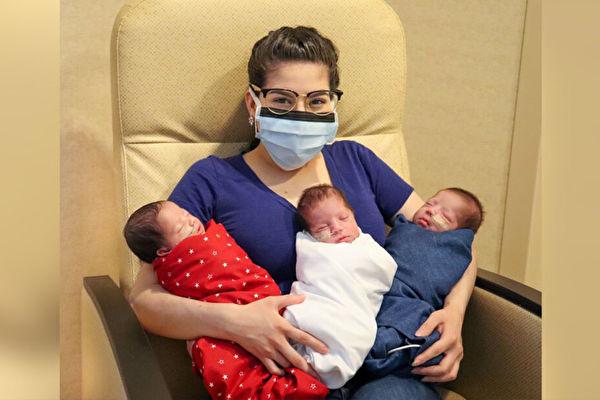 戰勝中共病毒 德州母親誕下健康三胞胎