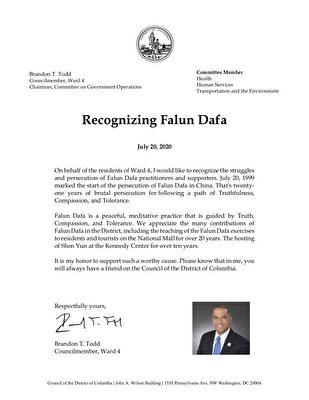 華盛頓特區市議員布蘭登·托德(Brandon Todd)寫給法輪功學員的聲援信。(大紀元)