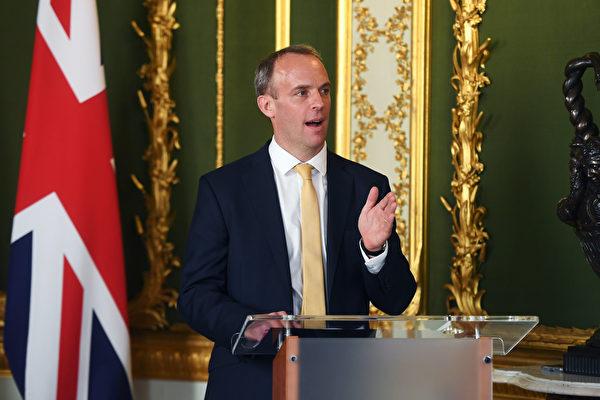 圖為英國外交大臣藍韜文(Dominic Raab)。(Peter Summers – WPA Pool/Getty Images)