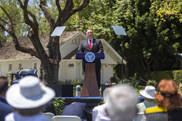 周四(7月23日)蓬佩奧在加州發表重磅演講。(David McNew/Getty Images)