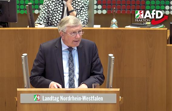 德國選項黨北威州議會議員賽汾在一次議會上發言。(影片截圖)