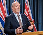 圖:卑詩省長賀謹(John Horgan)7月9日表示,正在考慮如何在全省範圍內重啟經濟。(省府圖片)