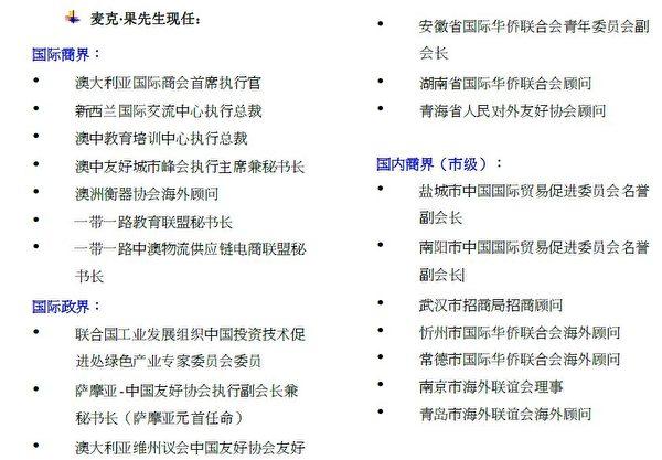 AITA商會發給淮南市政府的行政總裁Michael Guo簡介中,列舉了Michael Guo的一大堆頭銜。圖為簡介截圖。(大紀元)