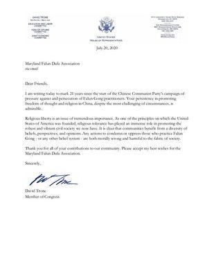 馬里蘭州國會眾議員戴維·特朗(David Trone)寫給法輪功學員的聲援信。(大紀元)