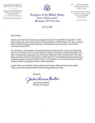 華盛頓州國會眾議員潔米·赫雷拉·布特勒(Jaime Herrera Beutler)寫給法輪功學員的聲援信。(大紀元)