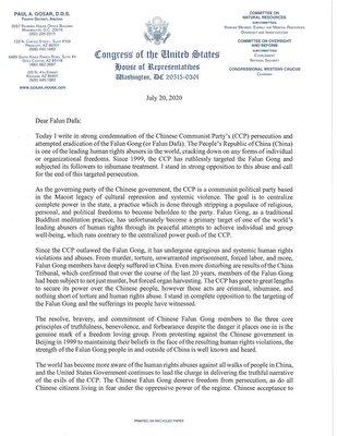 亞利桑那州國會眾議員保羅·戈薩爾(Paul Gosar)寫給法輪功學員的聲援信。(大紀元)