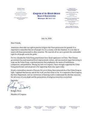 伊利諾伊州國會眾議員羅德尼‧戴德偉(Rodney Davis)寫給法輪功學員的聲援信。(大紀元)
