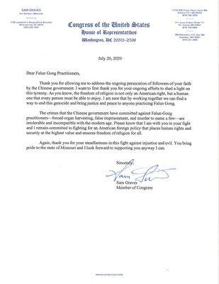 密蘇里州聯邦眾議員薩姆·格雷夫斯(Sam Graves)寫給法輪功學員的聲援信。(大紀元)
