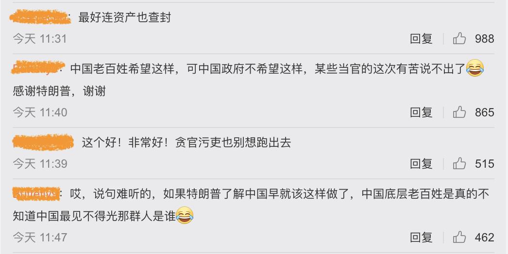 中國大陸網民支持美國禁中共黨員入境。(微博截圖)