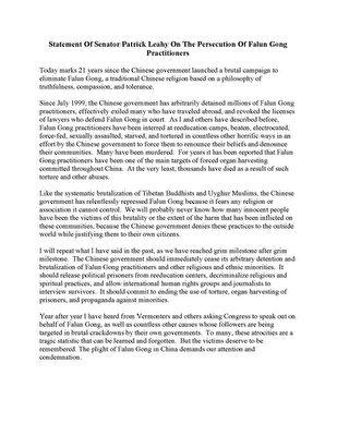 佛蒙特州聯邦參議員帕特里克·萊希(Patrick Leahy)寫給法輪功學員的聲援信。(大紀元)