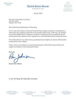 威斯康辛州聯邦參議員羅恩·約翰遜(Ron Johnson)寫給法輪功學員的聲援信。(大紀元)