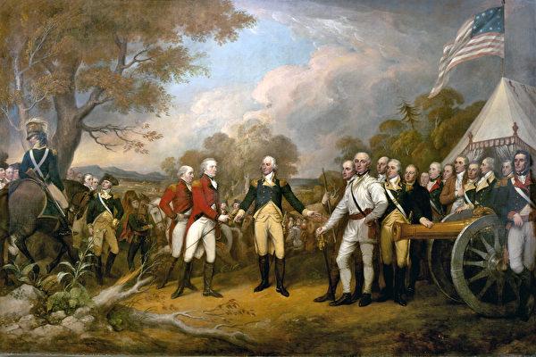 圖為美國畫家約翰·特朗布爾(John Trumbull)的油畫《伯格因將軍投降》。(公有領域)