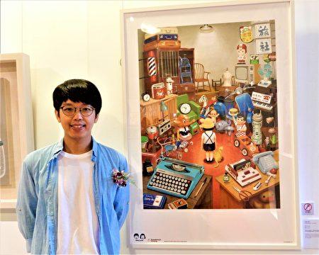 插畫家良根展出作品「什麼不見了」以壓克力為素材,記錄大環境變遷下的台灣街景。