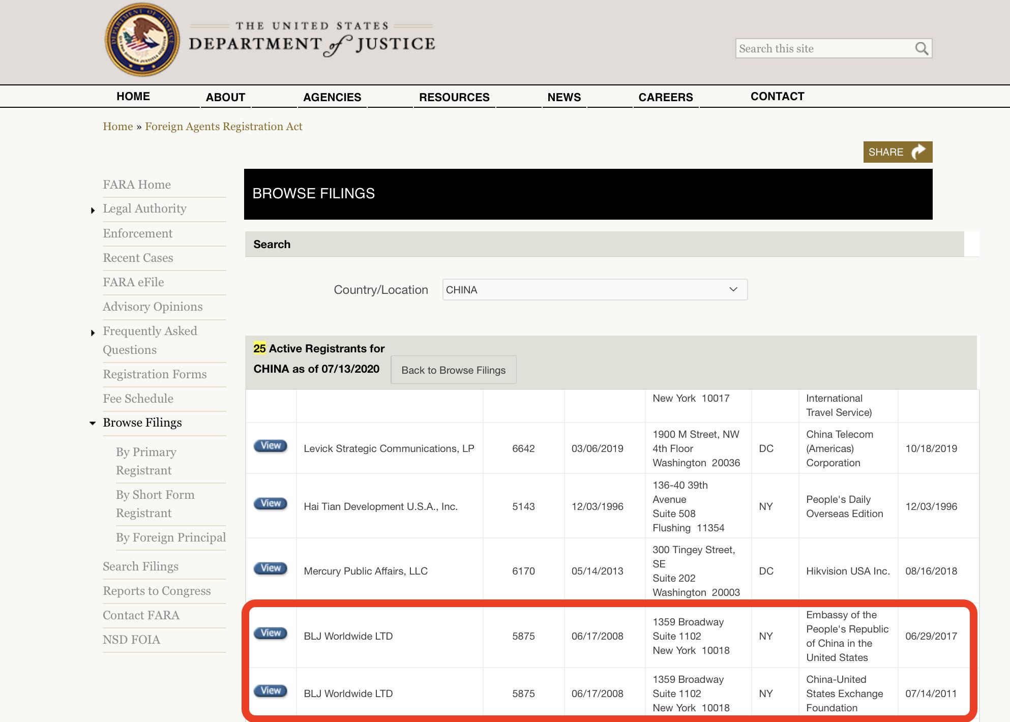 位於百老匯大道的BLJ是按美國的「外國代理人登記法」(簡稱FARA)註冊的「中國代理人」,替中國駐美國大使館以及中美交流基金會提供公關及顧問服務。(FARA網站)