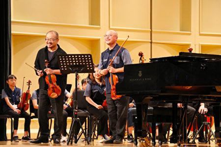 (左一)吴庭毓国家交响乐团(NSO)乐团首席,(右一)常任指挥李季教授。