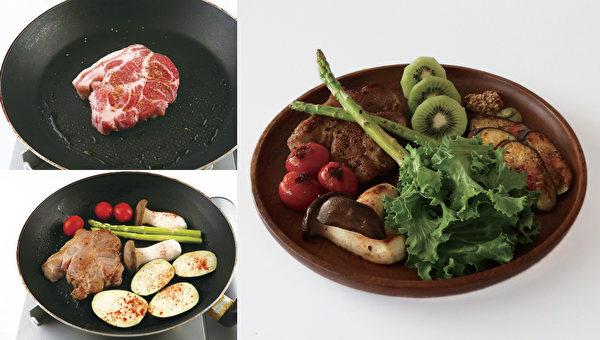 减肥晚餐之:猪颈肉排餐。(高宝提供)