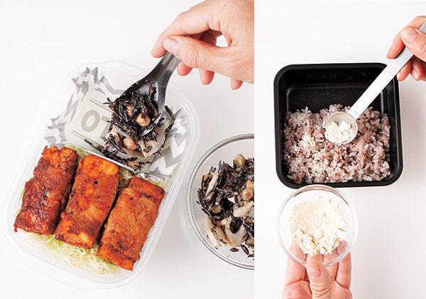 为避免汁多的配菜影响其它配菜或米饭,可以将配菜先装入硅胶杯中再装便当(图左);如果摆在米饭上,则要事先撒上豆渣粉吸收水分(图右)。(采实文化提供)