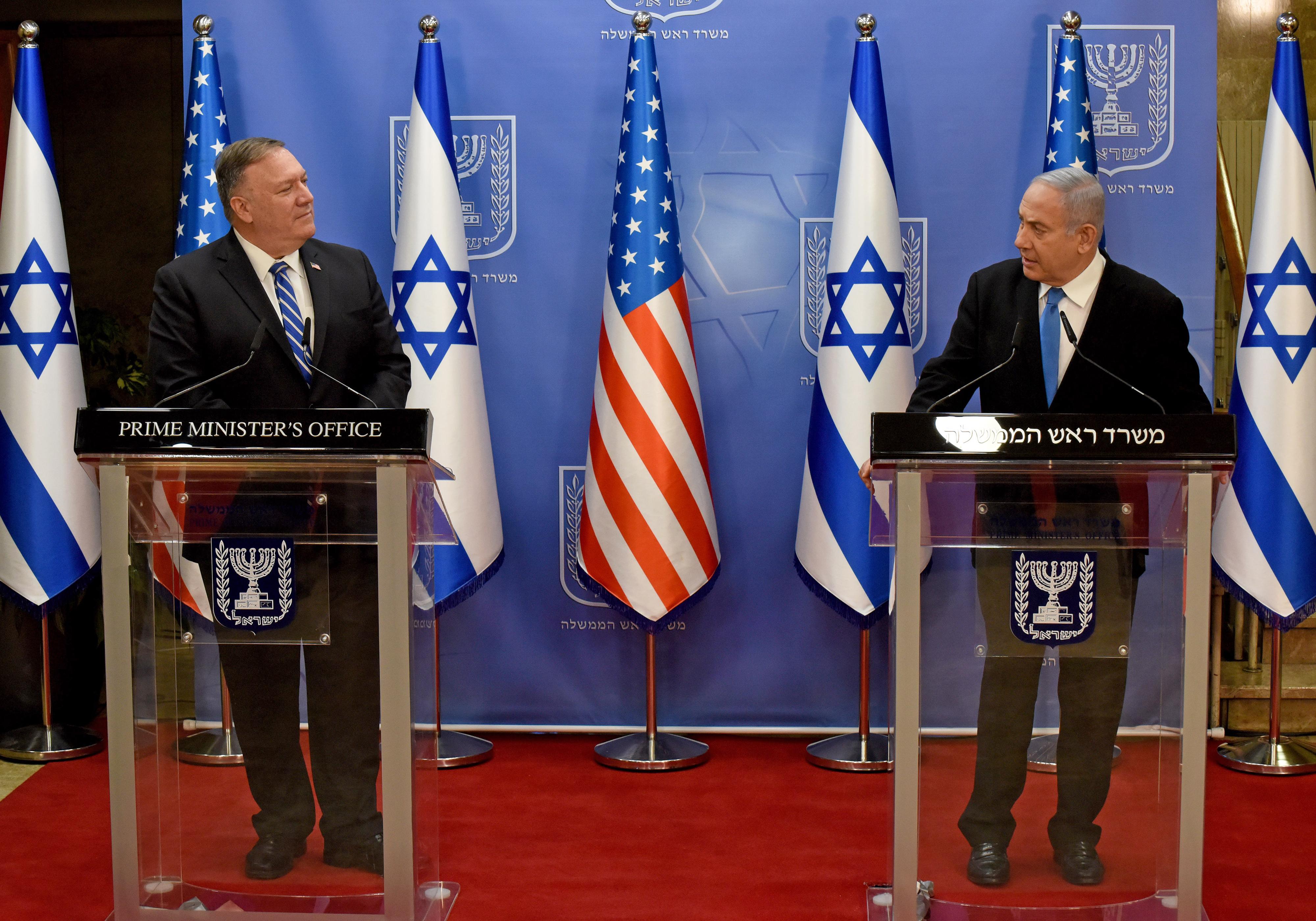 2020年8月24日,蓬佩奧展開中東之行,首日訪問以色列耶路撒冷。(DEBBIE HILL/various sources/AFP)