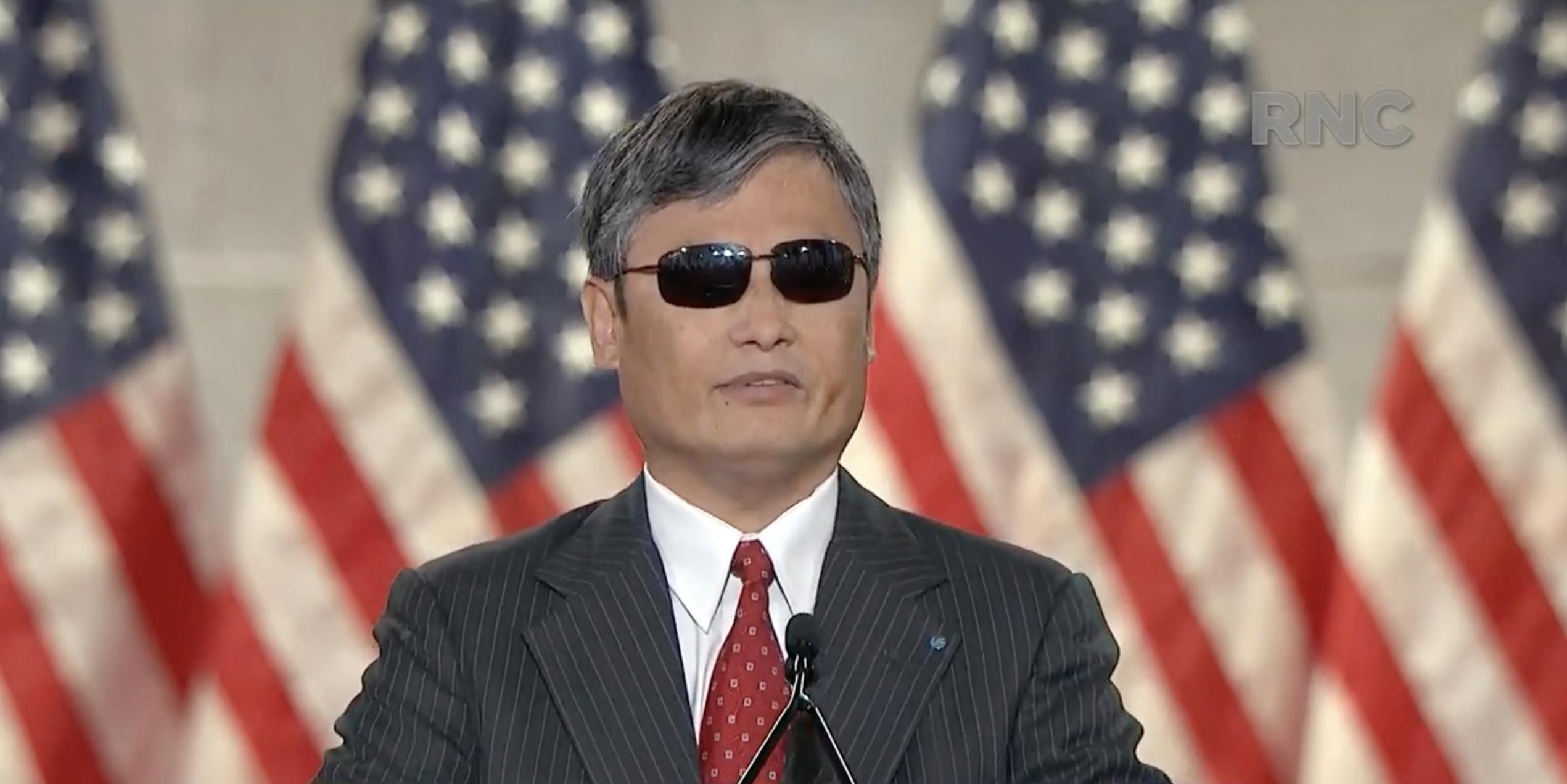 中國異見人士、逃亡美國的民間維權律師陳光誠獲邀出席周三(8月26日)的共和黨全國代表大會,他說,中共是人類的敵人。(Republican National Convention/AFP)