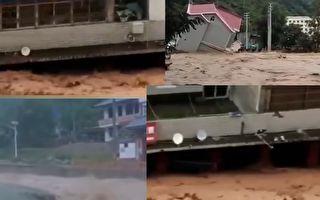 长江2020年第4号洪水形成之际,新一轮强降雨又将来临。图为甘肃洪水情况。(视频截图合成)