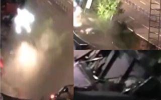 【視頻】宜賓路面塌陷湧出洪水 21車墜坑