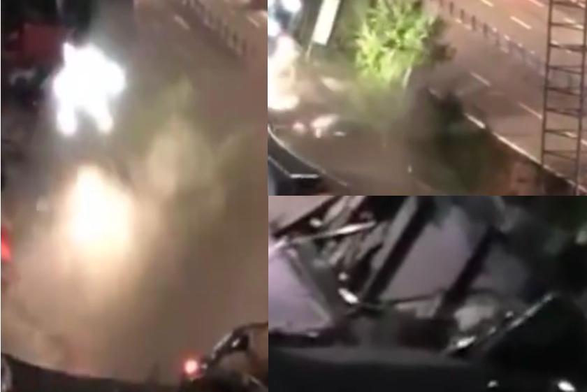【影片】宜賓路面塌陷湧出洪水 21車墜坑