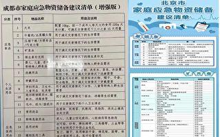 備戰還是拉內需 北京成都列家庭應急物資清單