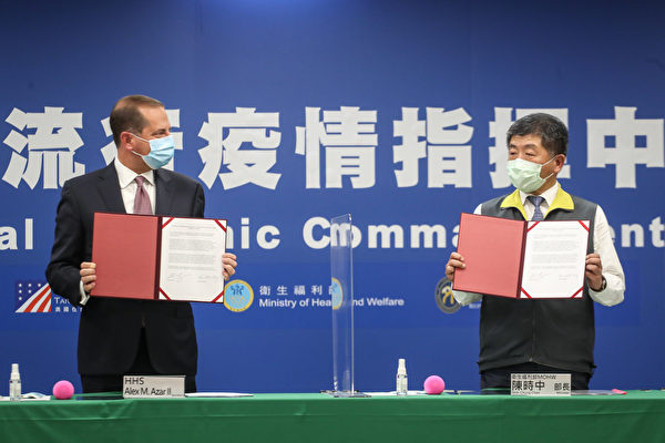 台灣與美國2020年8月10日首度簽署醫衛合作了解備忘錄,由美國衛生部長阿扎爾(Alex Azar)(左)與衛福部長陳時中(右)共同見證。(中央社)