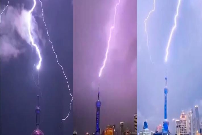 8月10日晚間,上海電閃雷鳴,東方明珠塔尖被閃電擊中。(影片截圖合成)