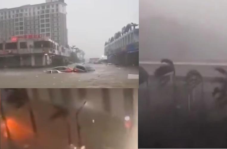 【影片】颱風海高斯登陸珠海 狂風驟雨市場被淹