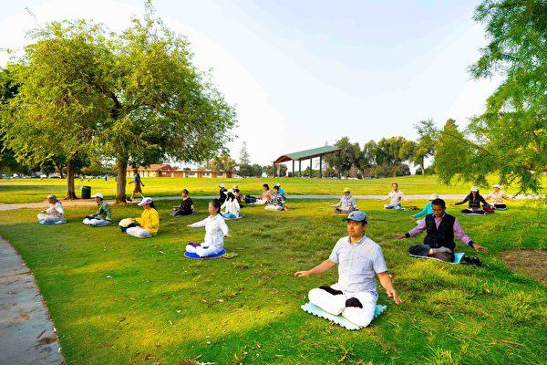 法輪功學員在菲利蒙中央公園伊利沙伯湖畔煉功。(周容/大紀元)