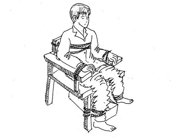 中共酷刑演示圖:老虎凳。(明慧網)