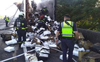 台國道1號火燒車 2萬件隔離衣全燒毀