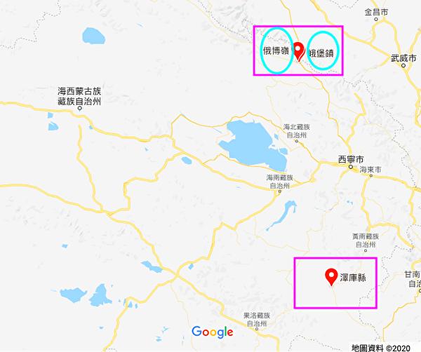 图为青海省泽库县北部的祁连山县俄博岭镇、峨堡镇。(谷歌地图)