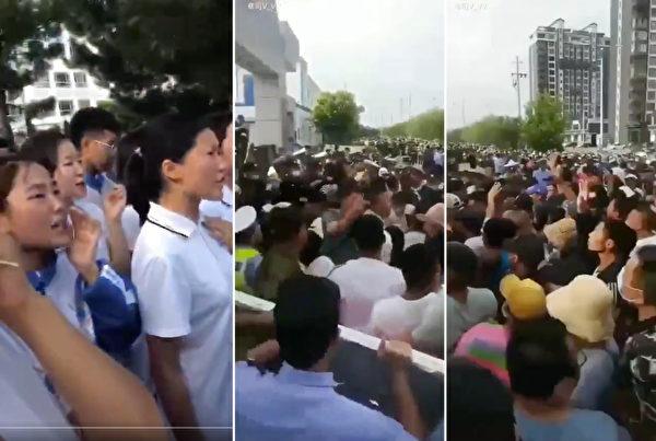 內蒙古當局宣佈當地蒙語授課學校改採漢語教學後,當地爆發大規模的「公民不服從」運動,數萬學生和家長發起罷課及抗議集會。(影片截圖)