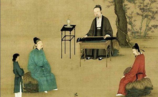 宋徽宗趙佶《聽琴圖》局部。(公有領域)