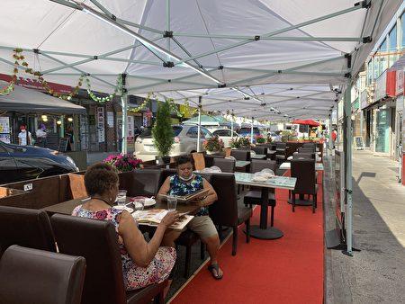 """""""上海豫园""""在法拉盛40路开设户外用餐。"""
