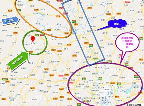 重慶市潼南區雙壩村在涪江流域,位於嘉陵江、長江交匯處的重慶市城區西北部。(谷歌地圖)