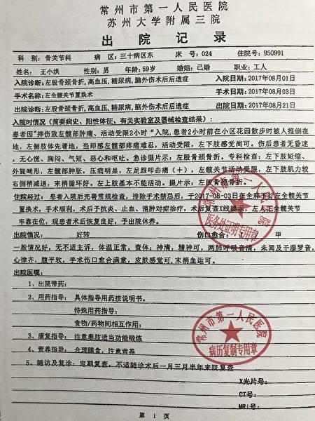 王小洪的出院記錄。(受訪者提供)