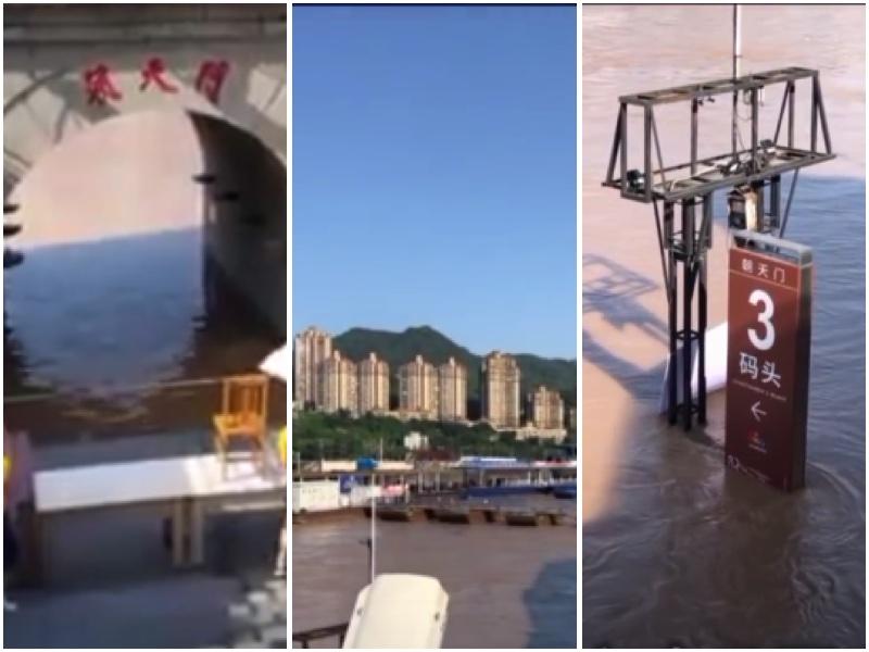 7月27日,長江三號洪峰,重慶朝天門洞及碼頭都被淹了。(影片截圖合成)