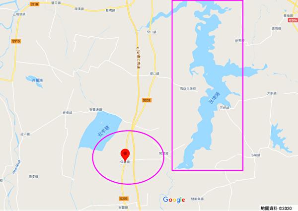 圖為報保義鎮及瓦埠湖。(谷歌地圖)