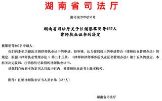 全國律界被整治 湖南上千律師執業證被撤銷