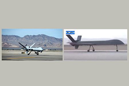 美軍的MQ-9收割者(左)無人機和彩虹-5(右)在外形和功能上相近。(Getty Images,影片截圖/大紀元合成)
