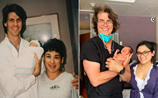 美國母子由同一醫生接生 隔25年拍同款照片
