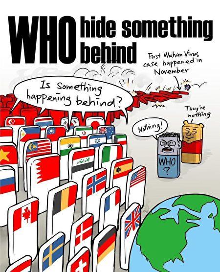 質疑世衛組織隱瞞疫情的英文漫畫被微信過濾。(加拿大公民實驗室提供)